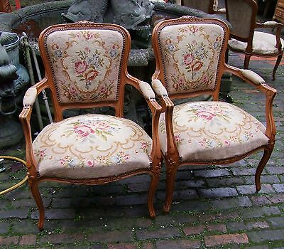 A Pair Of Louis Xv Style Vintage French Oak/needlepoint Armchairs (001703)
