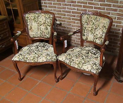 A Pair Of Louis Xv Style Vintage French Mahogany/needlepoint Armchairs (030117)