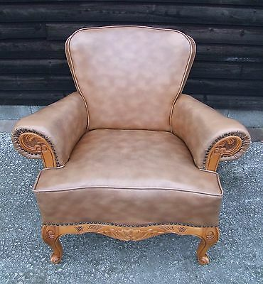 Vintage French Louis Xv Style Brown Leather Armchair - (B060)