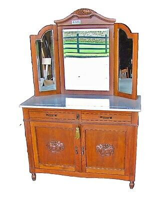 19th Century French Carved Oak and Marble Dressing Table/Cabinet - (C122)