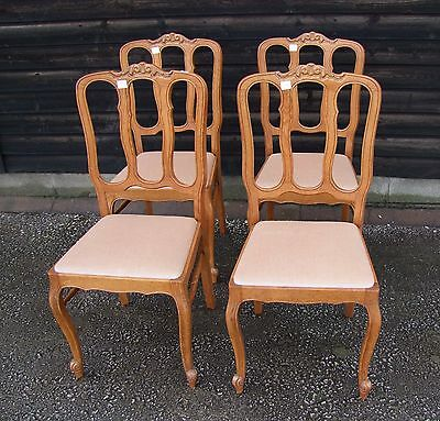 Louis Xv Style Vintage French Set Of 4 Dining Chairs  - (C90)
