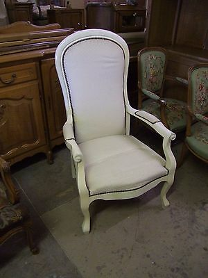 Painted And Re-Upholstered French Oak And Fabric Armchair - (117107)