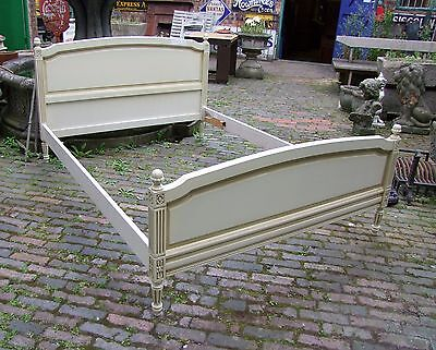 Vintage French Painted Ivory King Size Bed Frame - (COB002)