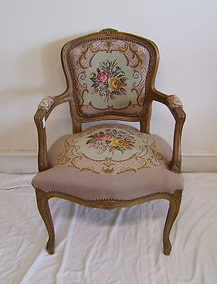 Louis Xv Style French Carved Oak And Needlepoint Armchair - (117138)