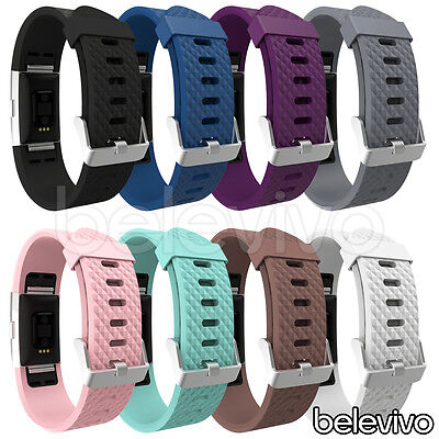 Replacement Soft Silicone Sports Band Strap Classic Buckle for Fitbit Charge 2