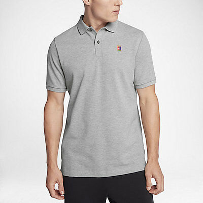Nike COURT HERITAGE MEN'S TENNIS POLO, DARK GREY HEATHER/BLACK-S,M, L, XL Or 2XL