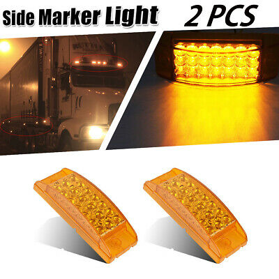 "2x 6"" Trailer Light Stop Turn Tail Amber Side marker LED Light 21LED Front"