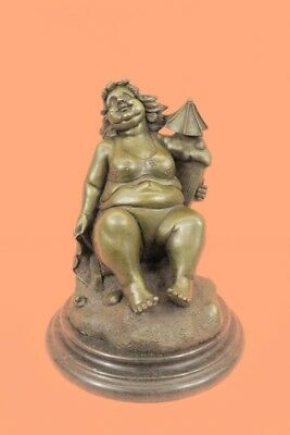 Rare Sculpture Curvaceous Nude Abstract Signed Botero Handmade Figurine Bronze S