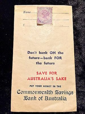Commonwealth Savings Bank Of Australia Money Envelope With VIC 2 Pence Stamp