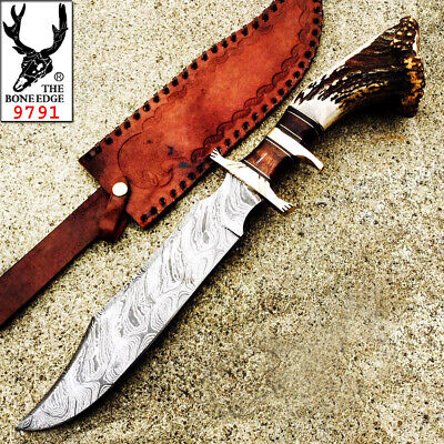 "17"" Damascus Steel Real Stag Horn Handle Hunting Knife Hand Made With Leather Sh"