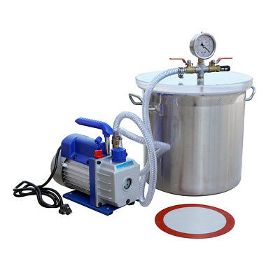 NEW 5 gallons stainless steel Vacuum bucket vacuum pump Degassing chamber 220V