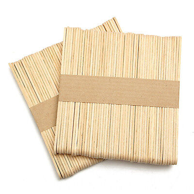 50 x Wooden Popsicle Sticks Kids Hand Crafts Ice Cream Lolly DIY+FREE POSTAGE