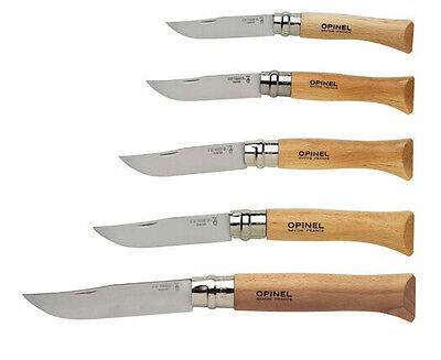 NEW Opinel Steel Inox Locking Beech Wood Folding Knife France No. 6 8 9 10 12