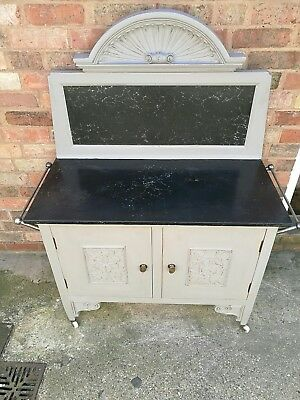 Vintage Upcycled Victorian Wood & Marble Cabinet