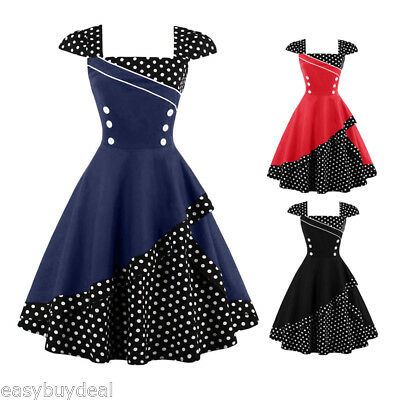 Ladies Polka Dot 1950s Vintage Retro Pin Up Rockabilly Swing Party Dresses Red