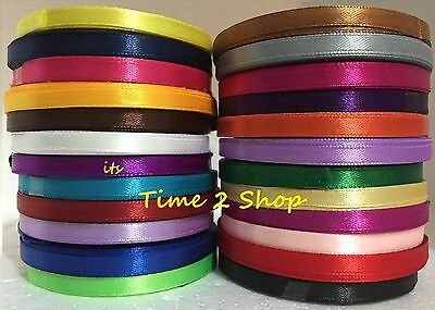 24 X 6mm 12 Yards Ruban Satin Rouleaux (10 M Environ) Plupart Vibrant Solide
