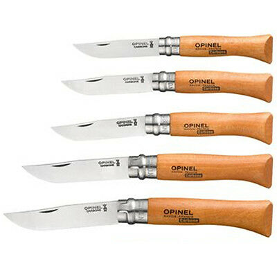 NEW Opinel Steel Carbon Locking Beech Wood Folding Knife France 4 5 6 8 9 10 12