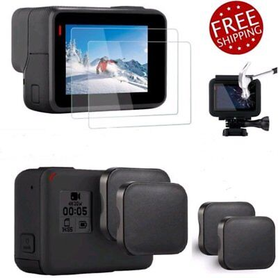 Ultra Clear Tempered Glass Screen Protector Lens Cap Case Cover for GoPro Hero 5