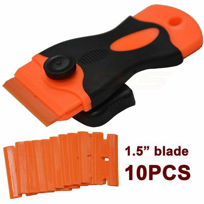 Sticker Scraper + 10Pcs Plastic Double Edged Razor Blades for Removing Glue Tool