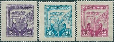 Korea South 1955 SG230B-232B Rebirth of Industry set type I nowmk laid paper MLH