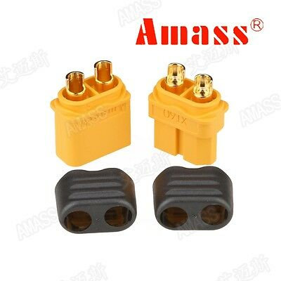 10 Pair Amass XT60H Bullet Connector Plug Gold Plated with Protective Cover