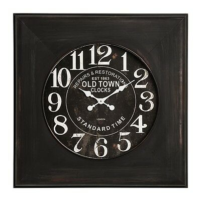 80cm Old Iron Town Wall Clock Vintage Retro Black Antique With White Hands New