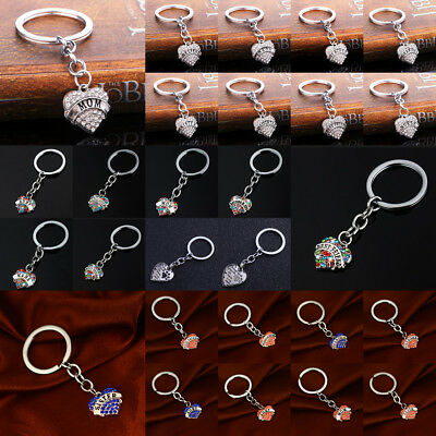 Crystal Rhinestone Keyring Keychain Key Chain Jewelry Heart Mom Grandma Dad Sis