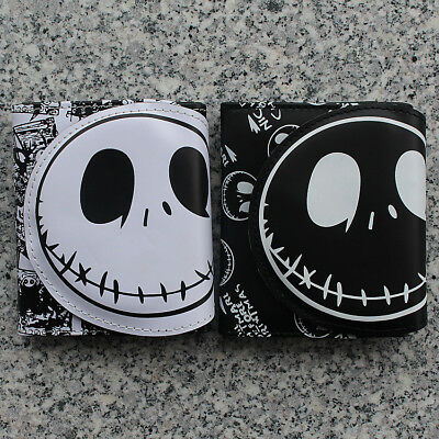 The Nightmare Before Christmas Jack Face White Coin Pouch Bag Short Purse Wallet