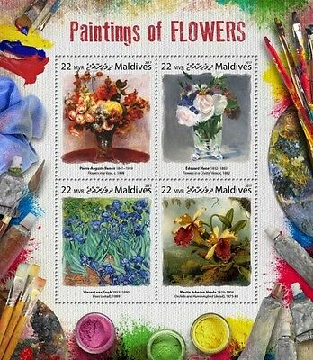 Z08 IMPERF MLD17804a MALDIVES 2017 Paintings of flowers MNH ** Postfrisch