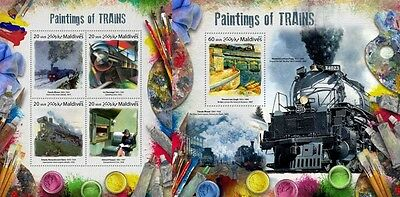 Z08 IMPERF MLD17809ab MALDIVES 2017 Paintings of trains MNH ** Postfrisch Set