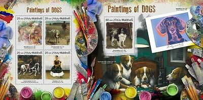 Z08 MLD17803ab MALDIVES 2017 Paintings of dogs MNH ** Postfrisch Set