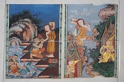 Set Antique Thailand Manuscript Painting from the 19th Century on book  a01
