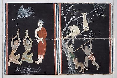 Set Antique Thailand Manuscript Painting from the 19th Century on book  a03