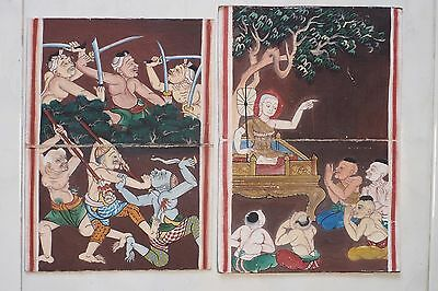 Set Antique Thailand Manuscript Painting from the 19th Century on book  a04