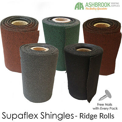 Roofing Felt Shingles | Roll Out Ridge Roll | Shed Roof Felt | 5 Colours | 10m