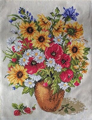 """Finished  Handcrafted Needlepoint Embroidery - Spring Flowers 11""""x14"""" (Unframed)"""