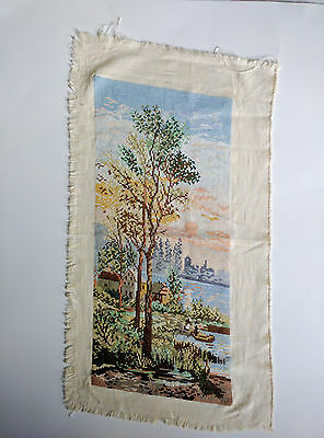 "Finished  Handcrafted Needlepoint Embroidery - River Trees 9""x19"" (Unframed)"
