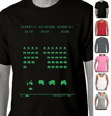 Funny T-Shirts Space invaders Retro video games 1980's Alien Aussie store Print