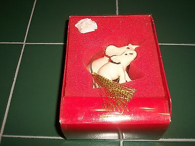 Mikasa Holiday Magic Porcelain Mother & Baby Elephant Christmas Tree Ornament