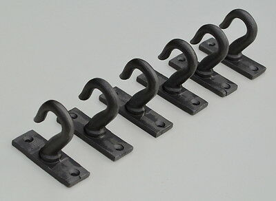 Set of 6 x Industrial Urban Cast Iron Coat, General Heavy Duty Hooks- 63mm High