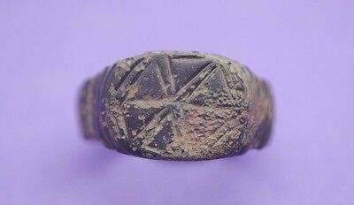 Beautiful Medieval bronze decorated finger ring 12th-14th century AD