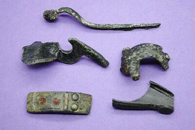 Group of 5 ancient Roman bronze brooch fragments 1st-2nd century AD UK finds