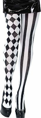 Adult Ladies Harlequin Jester Clown Tights Fancy Dress Circus Alice Accessory
