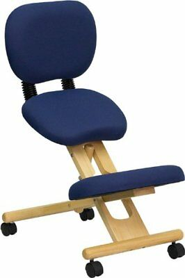 Mobile Wooden Ergonomic Kneeling Posture Chair in Navy Blue Fabric with Back