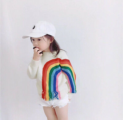 Fashion 2017 Girl Kids Infant Sweater Autumn Winter Clothing Rainbow Kid Sweater