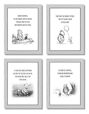 Personalised Winnie the Pooh Name Print Picture Baby Christening Nursery Gift A4