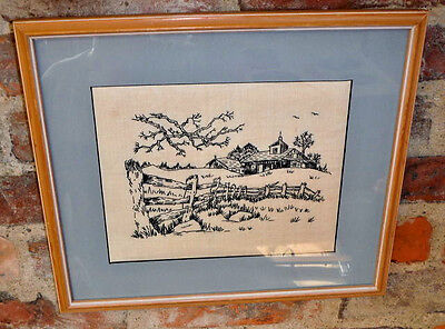 Vintage Embroidered Linen Framed Needlework Farm Scene Hand Worked Picture