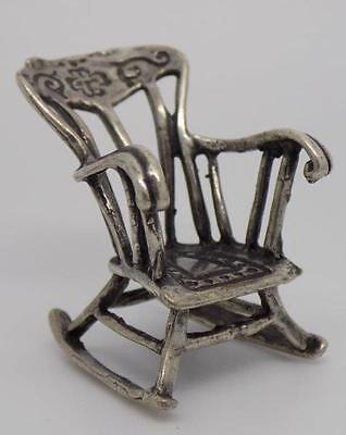 Vintage Solid Silver 70s Italian Rocking Chair Miniature - Stamped - Dollhouse