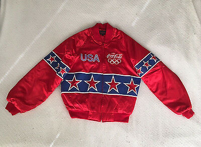 PERFECT VINTAGE Authentic Coca Cola USA 1996 Olympics Windbreaker Bomber SIZE M