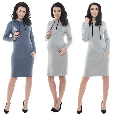 Purpless Maternity Pregnancy and Nursing Casual Hooded Dress with Pocket B6211